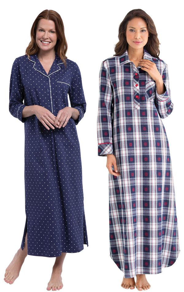 Models wearing Classic Polka-Dot Nighty - Navy and Snowfall Plaid Nighty. image number 0