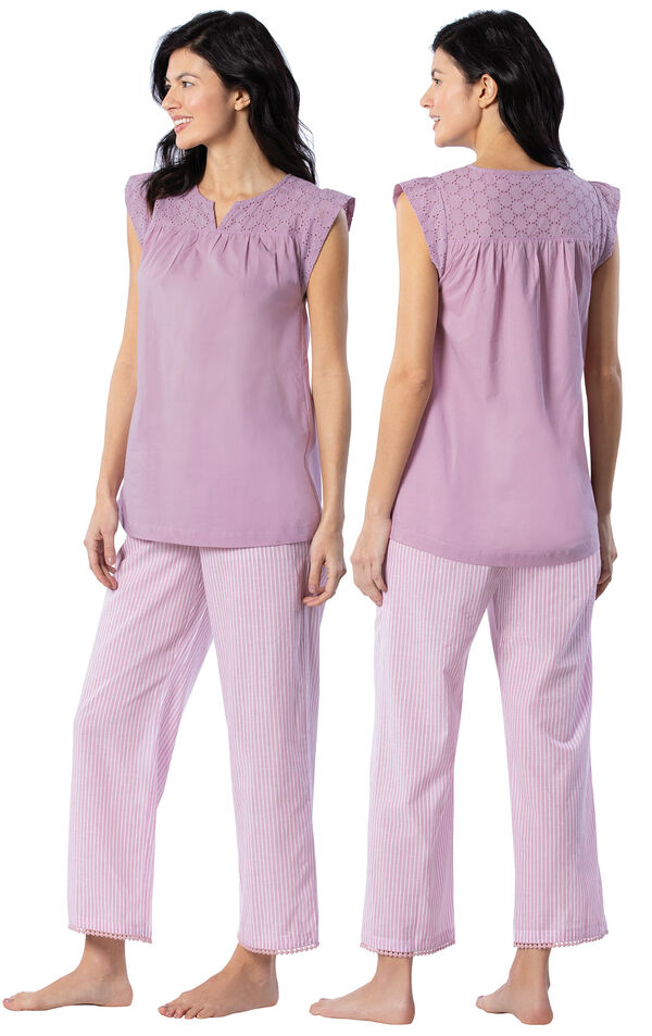 Model wearing Mauve Stripe Flutter Sleeve Capri PJ for Women, facing away from the camera and then to the side image number 1