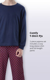 2 piece pajama set includes a cozy and long-sleeve shirt and full-length pants image number 3
