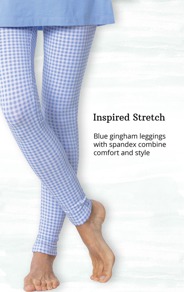 Inspired Stretch - blue gingham leggings with spandex combine comfort and style image number 3