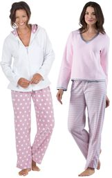 Models wearing Snuggle Fleece Pajamas - Pink Stripe and Snuggle Fleece Hoodie Pajamas.