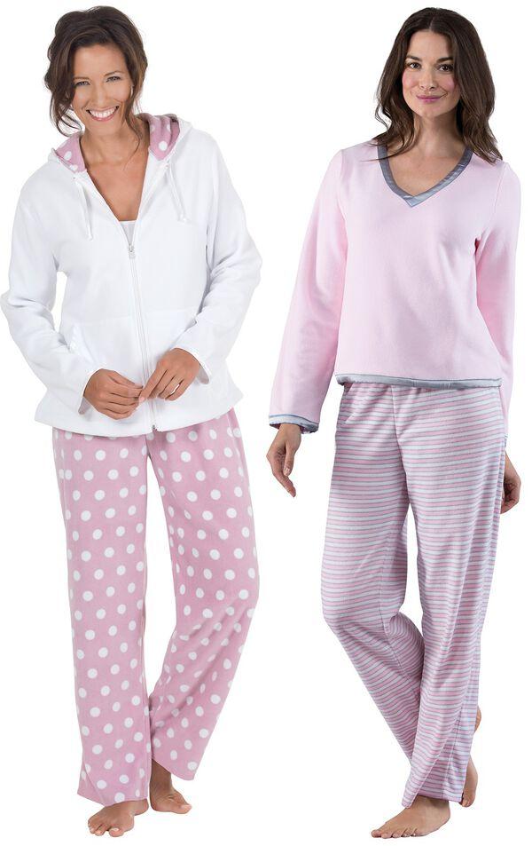 Models wearing Snuggle Fleece Pajamas - Pink Stripe and Snuggle Fleece Hoodie Pajamas. image number 0