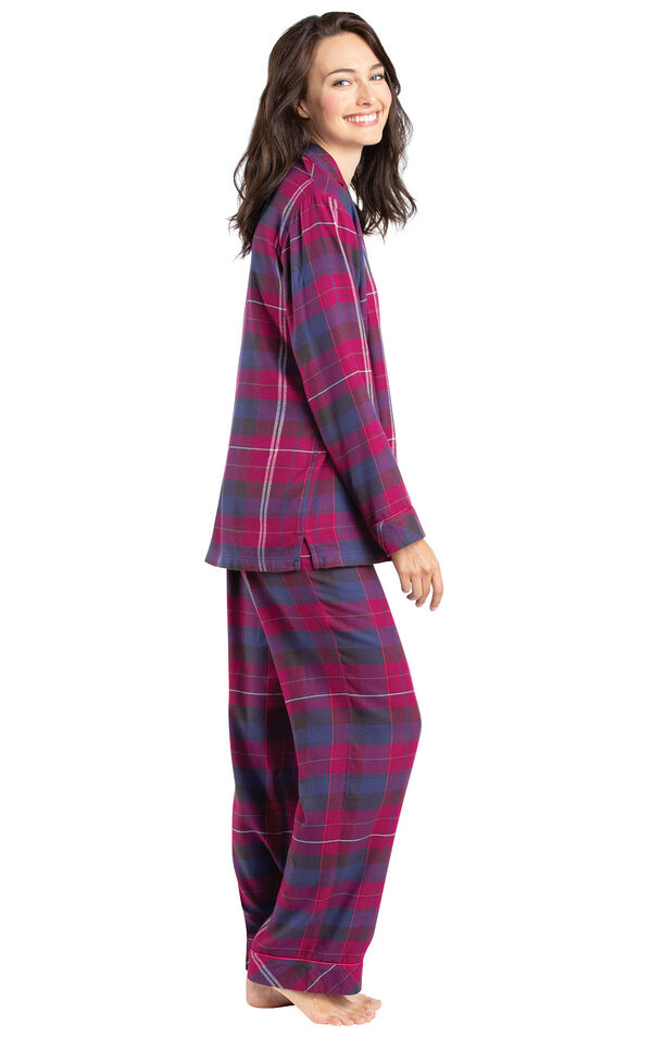 Model wearing Pink Plaid Button-Front PJ for Women, facing to the side image number 2