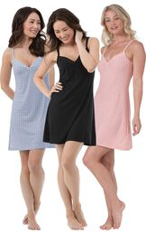 Models wearing Naturally Nude Chemise - Blue, Naturally Nude Chemise - Solid Black and Naturally Nude Chemise - Pink.