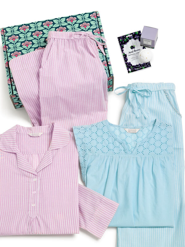 Addison Meadow Pullover PJ in Mauve Stripe and Summer Capri Pajama in Aqua Stripe in a blue and pink floral gift box with a bath bomb  image number 1