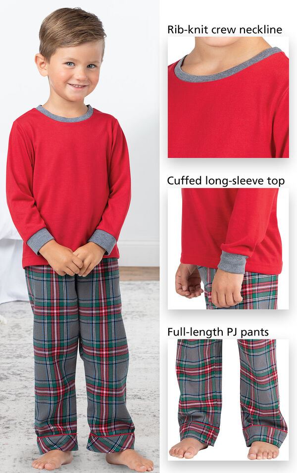 Close-ups of Gray Plaid PJ features which include a rib-knit crew neckline, cuffed long-sleeve top and full-length PJ pants image number 3