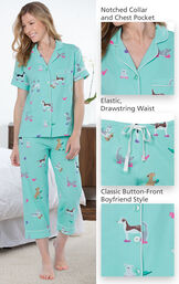 Model wearing Light Blue Dog Print Short Sleeve Button-Front Capri PJ for Women image number 3