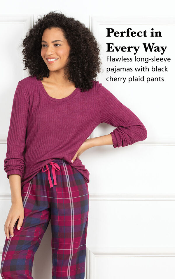 Model wearing Black Cherry Plaid World's Softest Flannel Pajamas with the following copy: Perfect in every way - flawless boyfriend-style pajamas in pink plaid image number 2