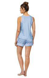 Model wearing Light Blue Satin Short Set with Pink Trim for Women, facing away from the camera image number 1