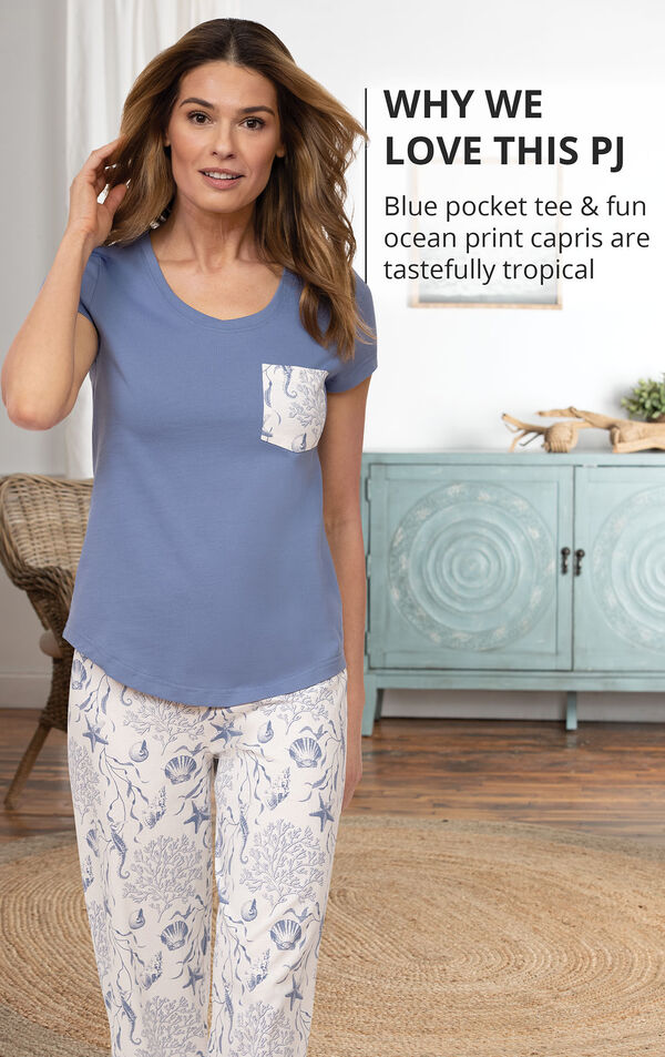 Blue pocket tee and fun ocean print capris are tastefully tropical image number 2