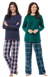 Models wearing Snowfall Plaid Pajamas and Heritage Plaid Thermal-Top Pajamas.