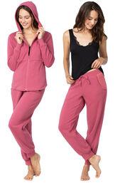 Model wearing Pink 4pc Pajama Set for Women image number 0