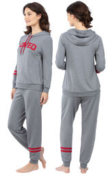 Model wearing Gray Hoodie with Jogger Pant PJ for Women, facing away from the camera and then to the side image number 1