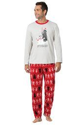 Model wearing Red Star Wars PJ for Men