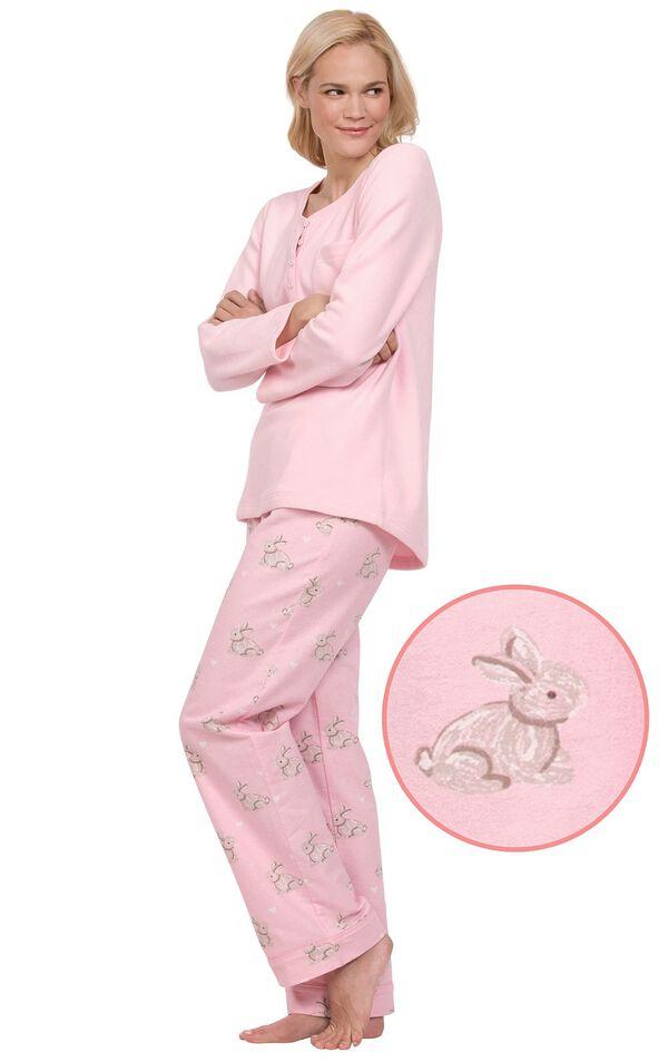 Model wearing Pink Snuggle Bunny Print PJ for Women image number 0