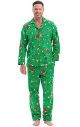 Model wearing Green Charlie Brown Christmas PJ for Men