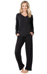 Model wearing Black Tie-Neck PJ for Women image number 0