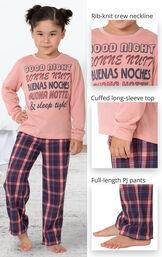 Long Sleeve Girls Pajamas - Plum Plaid image number 3