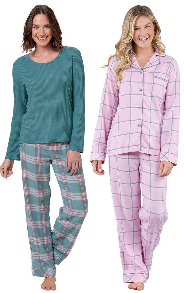 World's Softest Flannel Teal Plaid Pullover PJs and Pink Plaid Boyfriend PJs image number 0