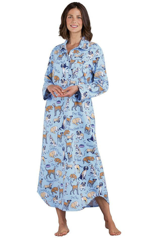 Model wearing Light Blue Dog Tired Print Gown for Women image number 0