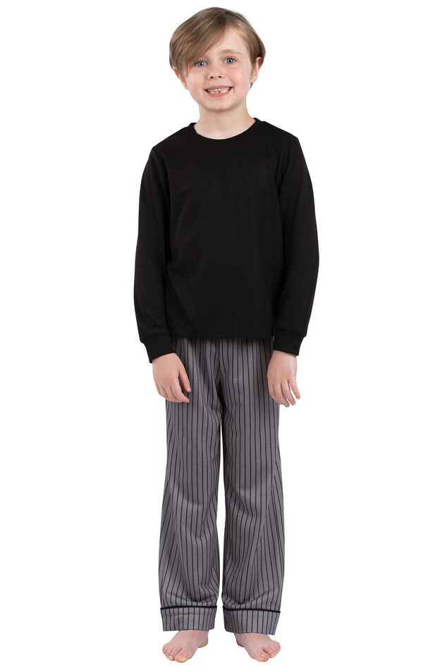 Model wearing Charcoal Gray and Black Stripe PJ for Youth image number 0