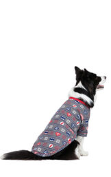 Model wearing Red and Blue Justice League PJ for Pets, facing away from the camera image number 1