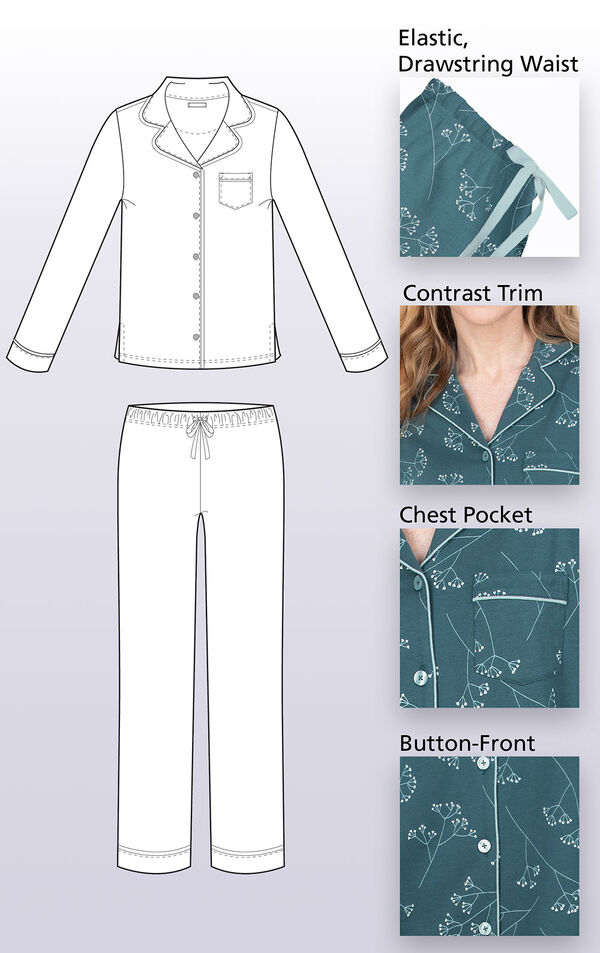 Technical drawing of Green Floral Print Jersey Boyfriend Pajamas with the following details highlighted: Elastic, drawstring waist, contrast trim, chest pocket and button-front image number 2