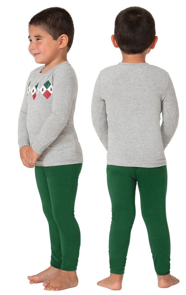 Model wearing Green and Gray Holiday Argyle Toddler Pajamas, facing away from the camera and then facing to the side image number 1