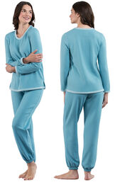 Model wearing World's Softest Teal PJ for Women, facing away from the camera and then facing to the side image number 1