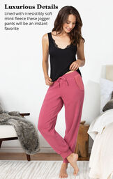 4 piece Sexy and Sweet Pajama Set jogger pants are lined with irresistibly soft mink fleece image number 4