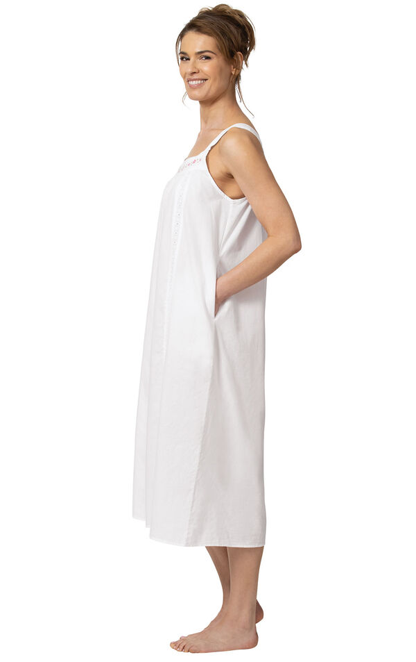Model wearing Meghan Nightgown  in White for Women, facing to the side image number 2