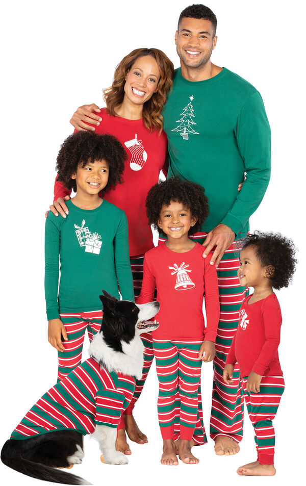 Models wearing Red and Green Christmas Stripe Matching Family Pajamas image number 0