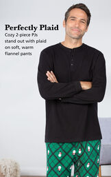 Cozy 2-piece PJs stand out with plaid on soft, warm flannel pants image number 2