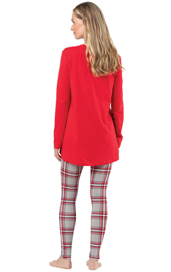 Model wearing Long Sleeve and Legging Pajamas - Red Plaid, facing away from the camera image number 1