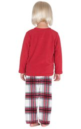 Model wearing Red and White Plaid Fleece PJ for Toddlers, facing away from the camera image number 1