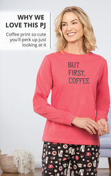 Model wearing Coffee Lover Pajamas with the following copy: Why we Love this PJ - Coffee print so cute you'll perk up just looking at it image number 2
