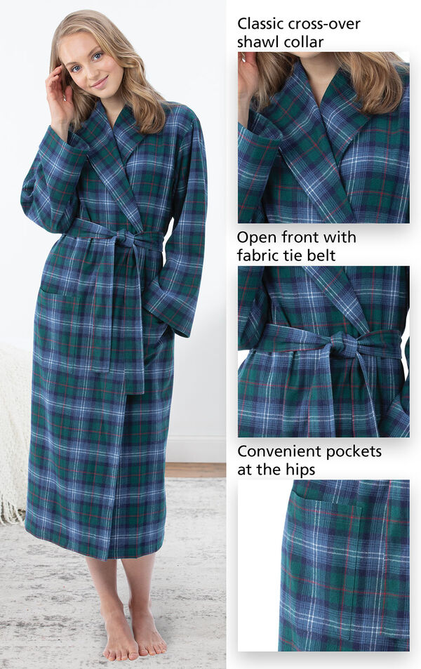 Close-Ups of Heritage Plaid Flannel Long Robe features which include a classic cross-over shawl collar, open front with fabric tie belt and convenient pockets at the hips. image number 3