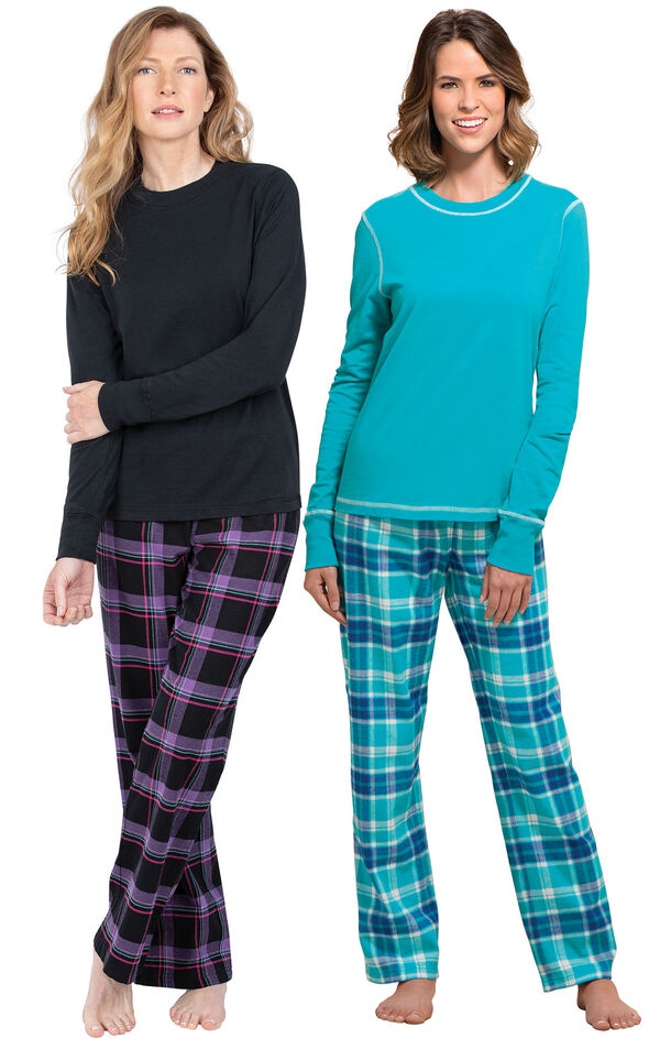 Models wearing Blackberry Plaid Jersey-Top Flannel Pajamas and Wintergreen Plaid Jersey-Top Flannel Pajamas. image number 0