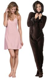 Models wearing Naturally Nude Chemise - Pink and Hoodie-Footie - Mink Chocolate.