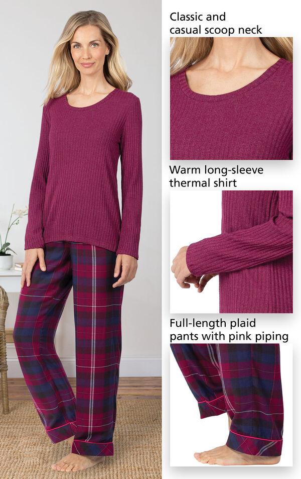 World's Softest Flannel Pullover Pajamas - Black Plaid feature a classic and casual scoop neck, warm long-sleeve thermal shirt and full-length plaid pants with pretty piping image number 3