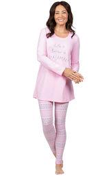 Model wearing Long Sleeve and Legging Pajamas - Pink Fair Isle image number 0