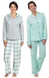 Models wearing Snuggle Fleece Hoodie Pajamas - Aqua and Classic Polka-Dot Boyfriend Pajamas - Mint. image number 0
