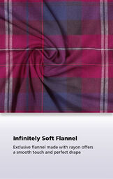 Black Cherry Plaid fabric with the following copy: Exclusive flannel made with rayon offers a smooth touch and perfect drape image number 4