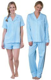 Models wearing Classic Polka-Dot Short Set - Blue and Classic Polka-Dot Boyfriend Pajamas - Blue. image number 0