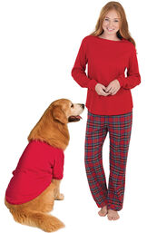 Models wearing Red Classic Plaid Matching Pet and Owner Pajamas image number 0
