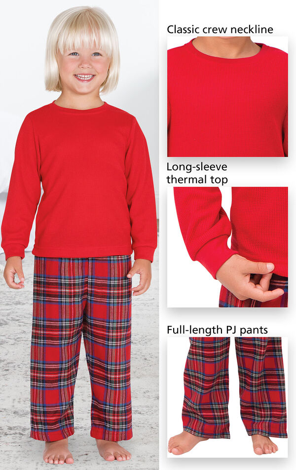 Close-Ups of Stewart Plaid Thermal Top PJ features which include a classic crew neckline, long-sleeve thermal top and full-length PJ pants image number 3