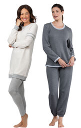 Models wearing Sporty Sweatshirt and Leggings PJ Set - Ivory/Gray and World's Softest Jogger Pajamas - Charcoal. image number 0