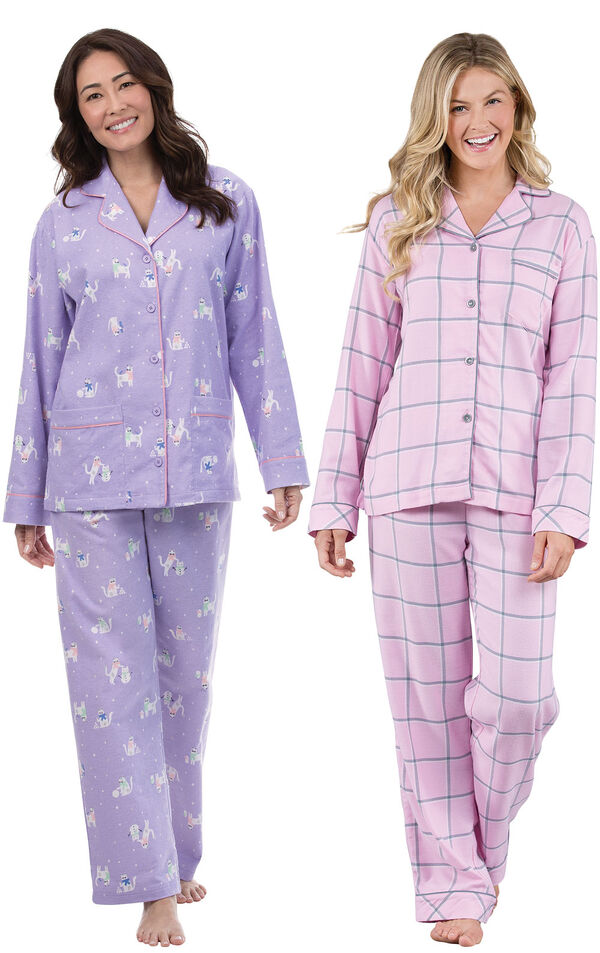 Models wearing Purrfect Flannel Boyfriend Pajamas and World's Softest Flannel Boyfriend Pajamas - Pink. image number 0