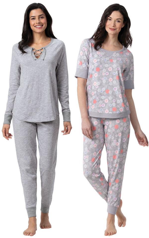 Models wearing Addison MeadowJogger PJs - Gray and Addison MeadowWhisper Knit Joggers - Gray Floral image number 0