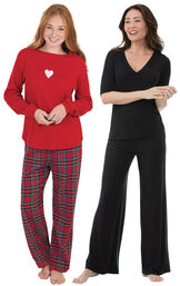 Valentine's Day Plaid PJs and Black Naturally Nude PJs image number 0